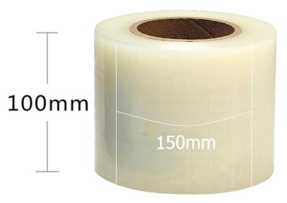 Adhesive edges clear barrier film with dispenser