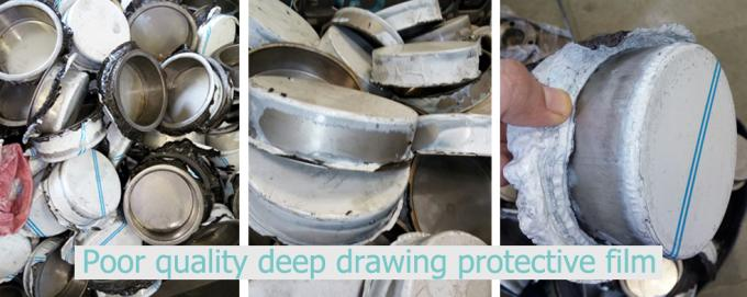 Deep drawing protective film for stainless steel with different finishes