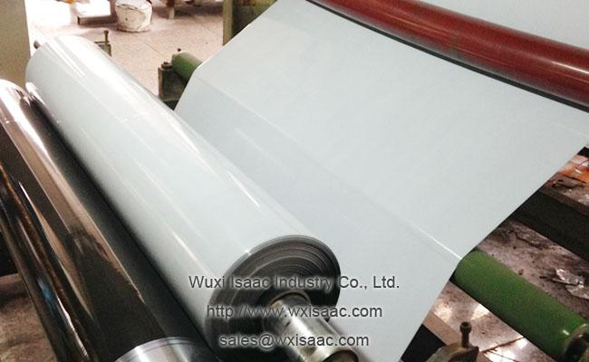 Black/white protective film guards stainless steel bright annealed finish against scratch marks
